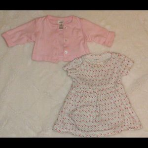 Baby Girl Dress Bodysuit with Cardigan